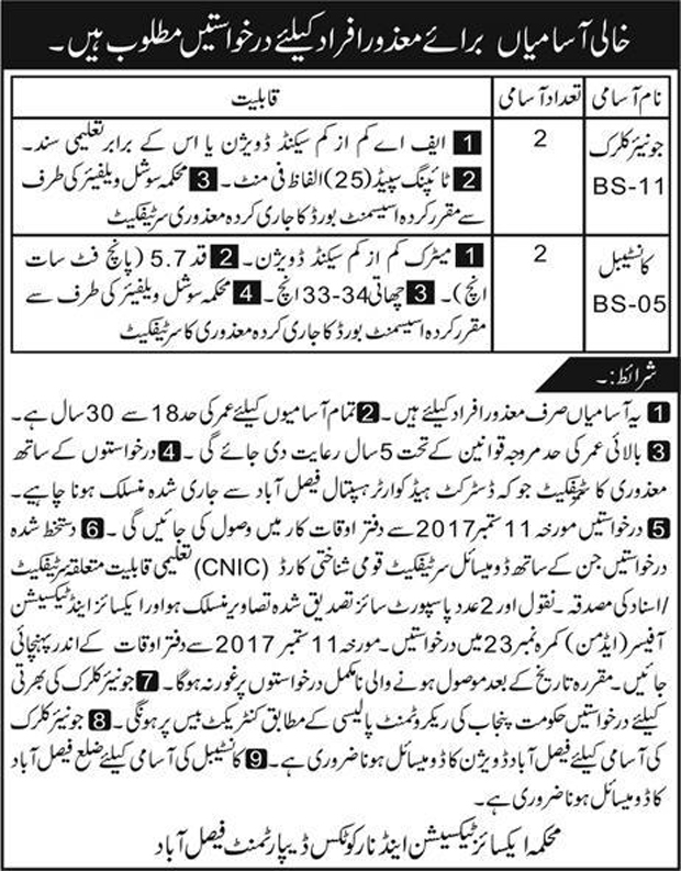 Jobs in Excise And Narcotics Department Faisalabad  August 2017.