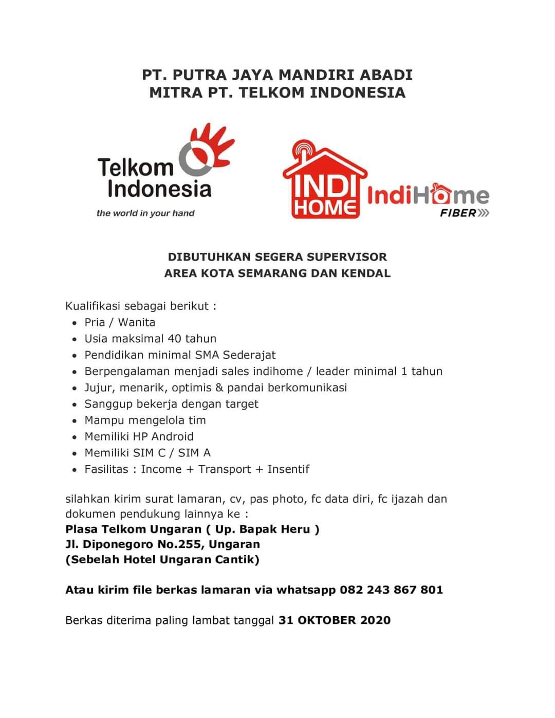 Lowongan Kerja Dibutuhkan Supervisor Indihome PT Telkom Indonesia Untuk Area Kota Semarang dan Kendal