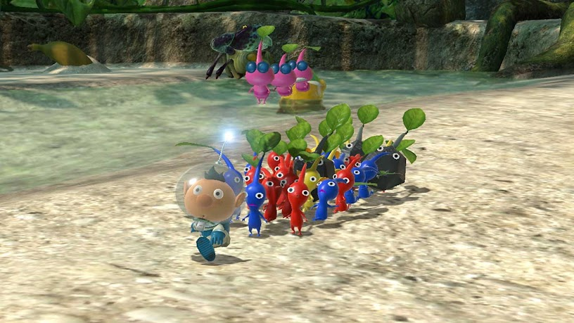 Pikmin 3 Deluxe all characters beside a river
