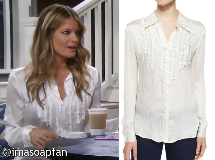 Nina Reeves's Ruffled Off-White Silk Blouse - General Hospital, Season 54, Episode 08/05/16