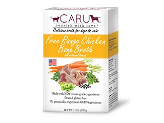 Caru Chicken Broth can entice finicky cats to eat.
