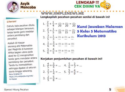 Kunci Jawaban Halaman 5 Kelas 5 Matematika Kurikulum 2013 www.simplenews.me