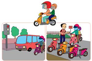 kegiatan Udin dan ayah dalam menjaga keselamatan di perjalanan www.simplenews.me