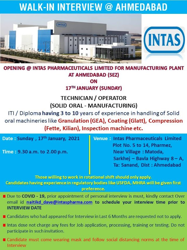 Intas Pharma | Walk-in for Technician/Operators for OSD Manufacturing on 17th Jan 2021
