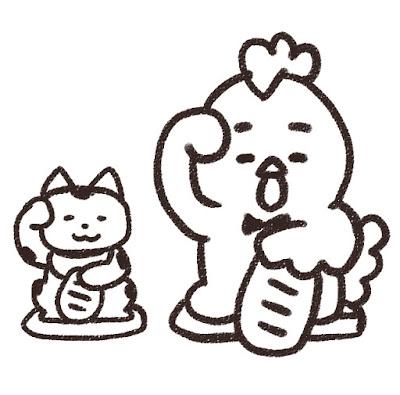 招き猫とニワトリのイラスト(酉年・白黒線画)