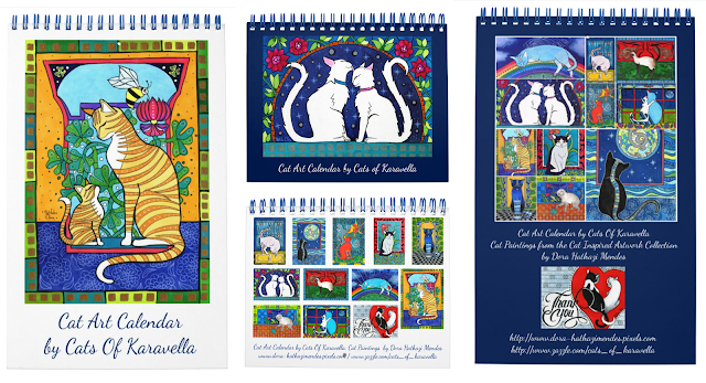 Cat Art Calendar by Dora Hathazi Mendes, Cats of Karavella Collection