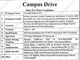 ITI, B. Com, B. SC Jobs Vacancy Campus Placement Interview For Vacment India Ltd. At Govt ITI  Vidisha, Madhya Pradesh