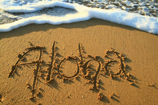 Aloha written in the sand of Kauai