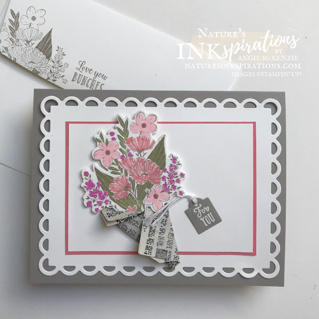 By Angie McKenzie for Stamping INKspirations Blog Hop; Click READ or VISIT to go to my blog for details! Featuring the Wrapped Bouquet Bundle consisting of the Wrapped Bouquet Cling Stamp Set and the Wrapped Flowers Dies, the Jar of Flowers Photopolymer Stamp Set, and the Scalloped Contours Dies by Stampin' Up!® to create some special wrapped bouquets for the Mother's Day; #mothersdaycards #stampinginkspirationsbloghop #naturesinkspirations #wrappedbouquetbundle #wrappedbouquetstampset #wrappedflowersdies #scallopedcontoursdies #jarofflowersstampset #newspaperwrappedflowers #handmadecards #coloringwithblends #coloringvellum #prettyenvelopes  #fussycutting #cardtechniques #ci98