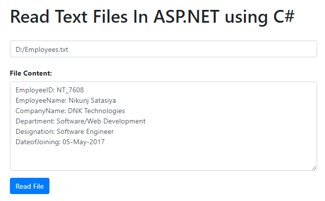 Read Text Files In ASP.NET using C#
