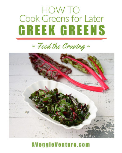 Greek Greens, how to hold dark leafy greens for later, another simple technique ♥ AVeggieVenture.com. Weight Watchers Friendly. Low Carb. Great for Meal Prep. Vegan. Gluten Free.