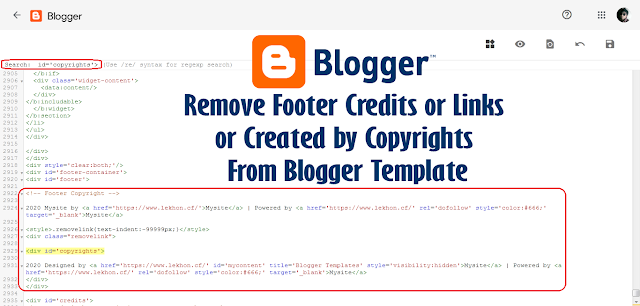 Remove Footer Credits or Links From Blogger Template