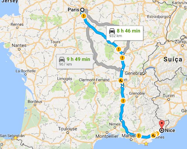 Trajeto da viagem de carro de Paris a Nice
