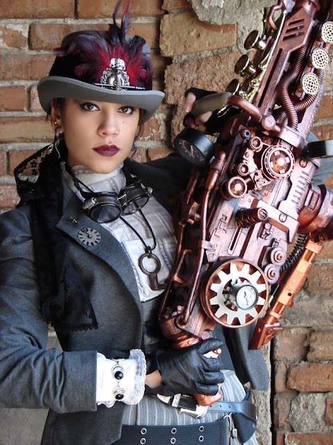 Female Steampunk US Marshal in steampunk clothing (hat, goggles, blouse, sheriff badge) with big steampunk gun
