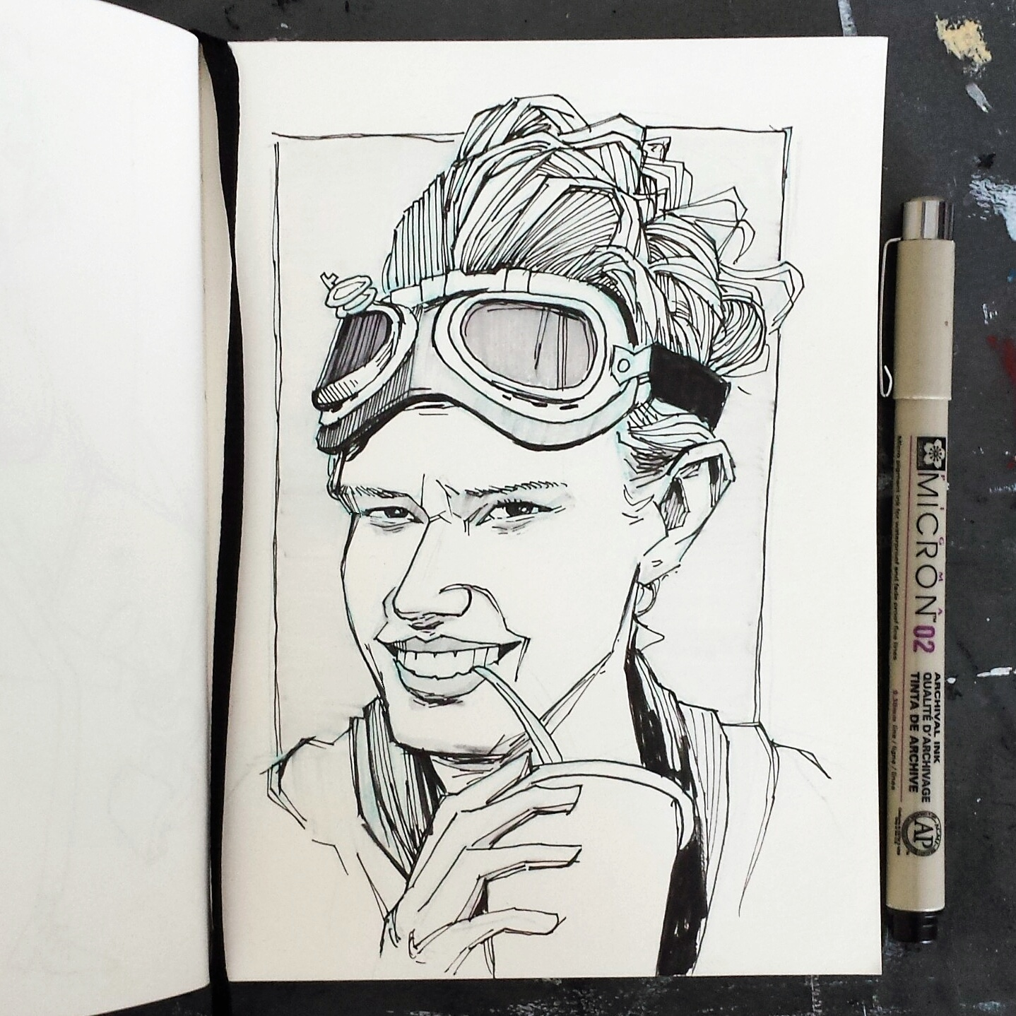 illustrated Hotlzmann sketchbook drawing