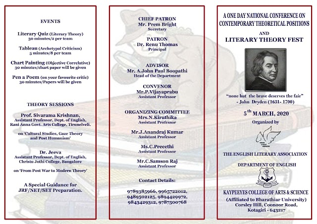 A One Day National Conference on Contemporary Theoretical Positions and Literary Theory Fest