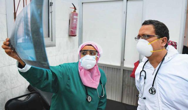 Egyptian doctors in a coronavirus isolation hospital