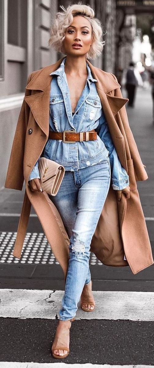 fall denim fashion tremds / jacket and ripped jeans + brown coat + heels