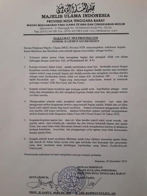 hukum mengucapkan natal menurut mui lombok