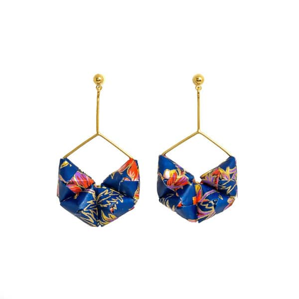 pair of blue patterned folded paper bead earrings on golden drop wires