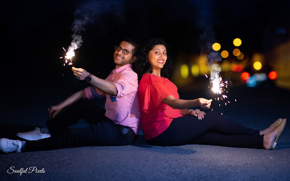 Pre-Wedding Shoot At Night With Fireworks