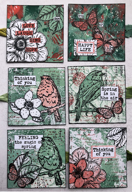 Blizzard Fold mini book featuring PaperArtsy stamps ESC22 and ESC23 and Fresco paints