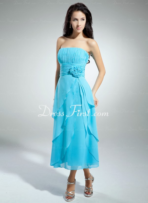 cf527761660 A-Line Princess Strapless Tea-Length Chiffon Homecoming Dress With Ruffle  Flower(s)
