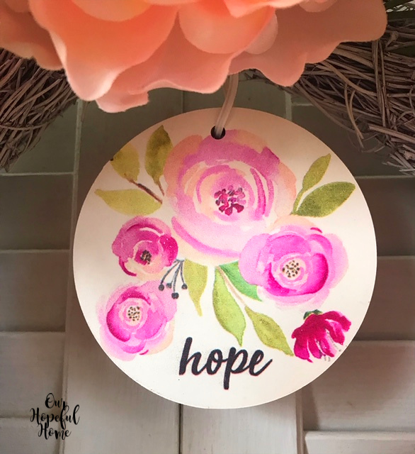 painted pink peonies round 4 inch MDF hope wreath charm