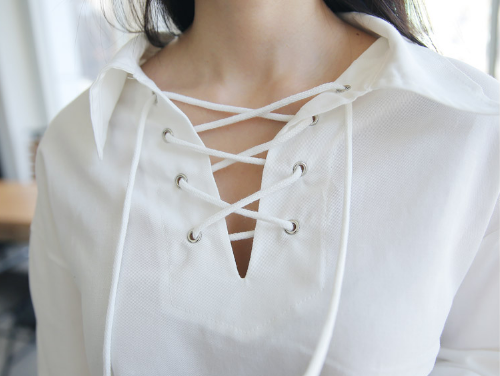 Lace Up Cotton Blouse