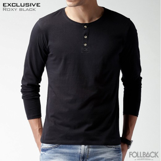 Kaos Kancing Pria Lengan Panjang Henley Roxy Black
