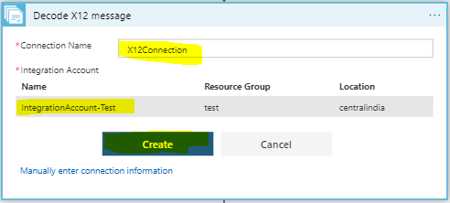 create connection to Integration account