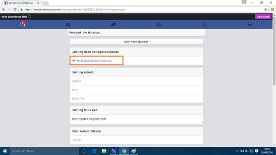 buat username halaman facebook