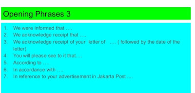 Business Letter Opening Phrases