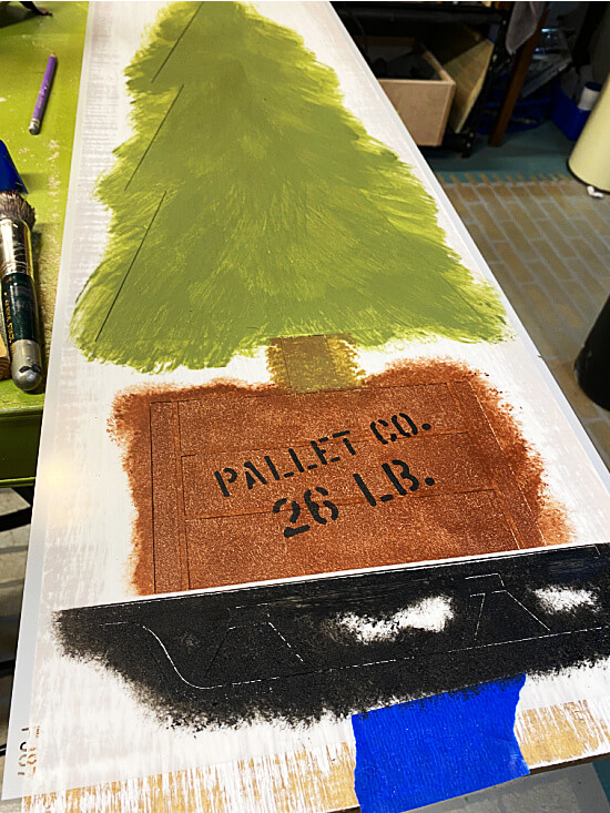 stenciled crate and tree
