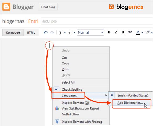 Cara Menambah Check Spelling Bahasa Indonesia pada Blogger