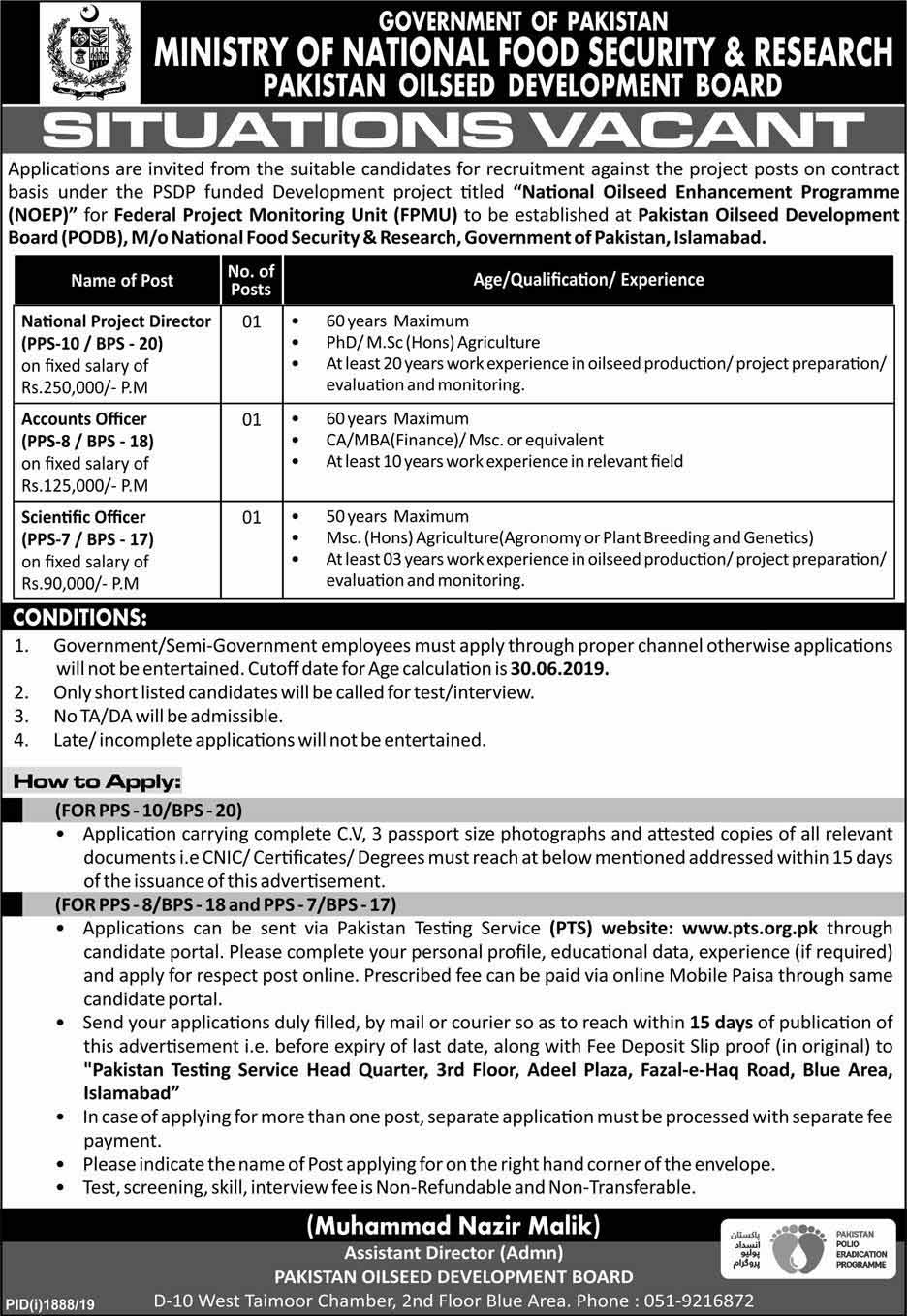 Ministry of National Food Security and Research Jobs via PTS 2019