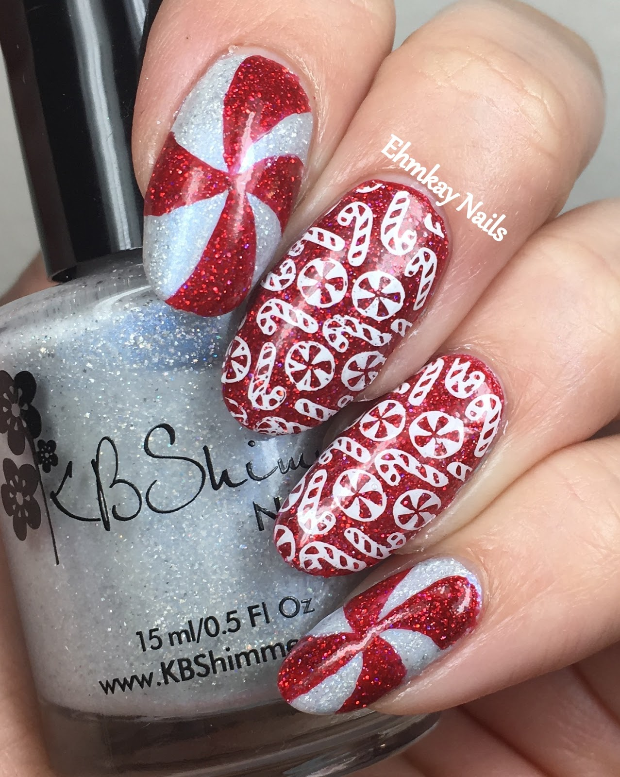 Ehmkay Nails Winter Nail Art Challenge Candy Canes And Peppermint