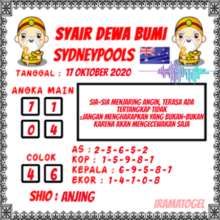 Syair Dewa Bumi Sydney Sabtu 17 Oktober 2020