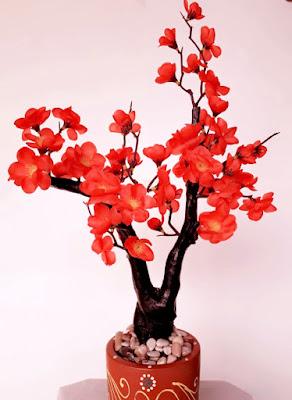 Gambar Bunga Plastik Sakura Merah Bata