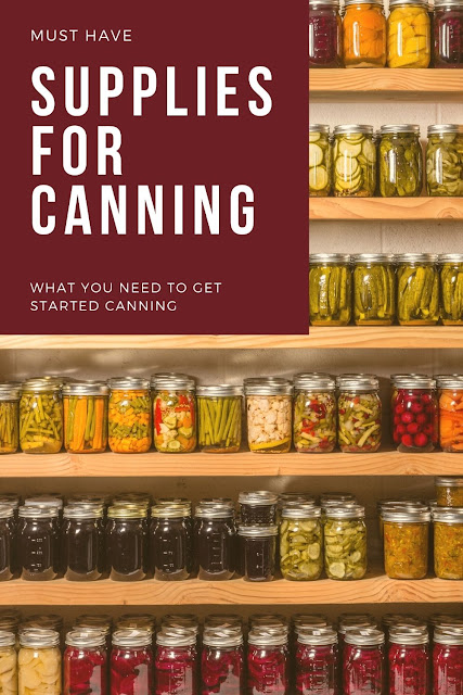My must have canning accessories. This is for beginners for learning the basic tools and products to get started canning. Canning for beginners can be intimidating!  You don't need to buy a lot of stuff, but there are some canning supplies that you will need. This list is for both water bath canning and pressure canning at home. #canning #musthave #list #supplies #supply