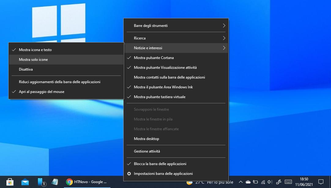 Meteo barra applicazioni Windows 10 con scritta sfocata