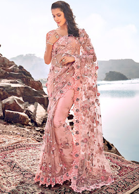 Indian Peach Embroidered Net with blouse party fancy saree