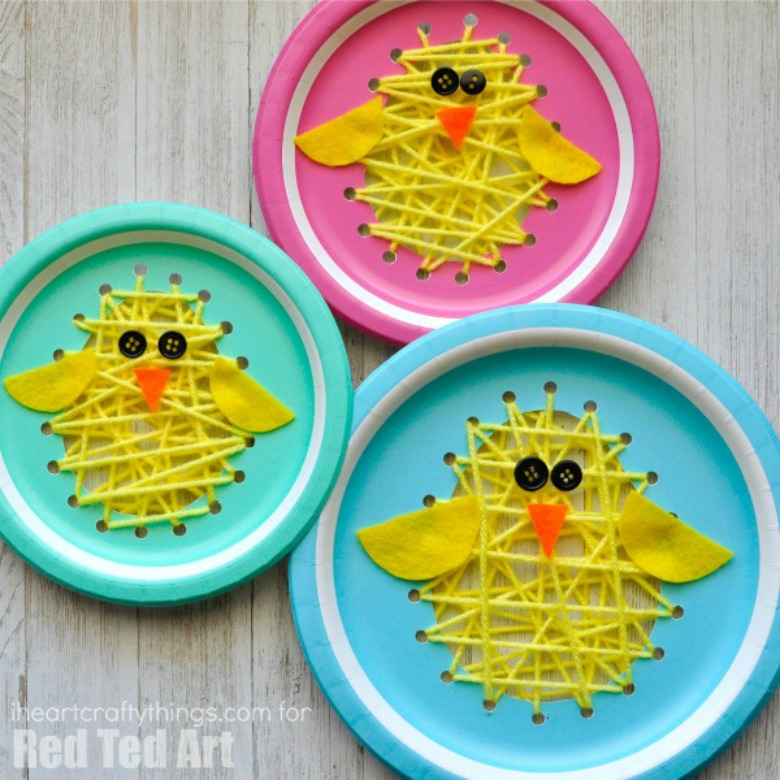 Paper plate Easter chick sewing craft - Easter activities for preschoolers and toddlers