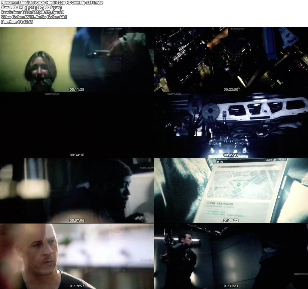 Bloodshot 2020 Hindi 720p HDCAMRip x264 | 480p 300MB | 100MB HEVC Screenshot