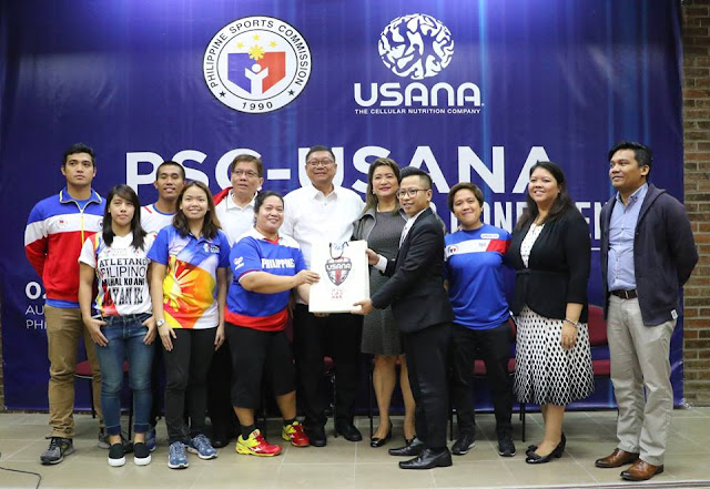 USANA-PSC-PSI Ceremonial Turn-Over (left to right): front row – Divine Wally (Wushu); Wilhelmina Lozada (Fencing); Josephine Medina (Para Table Tennis) receiving the USANA products from Lerwin Onanad, USANA Field Development Supervisor; Rubilen Amit (Billiards); Lizbeth Jose, Field Development and Marketing Director, USANA Philippines and Marc Edward Velasco, National Training Director, Philippine Sports Institute. (Back row, left to right): Rick Maano and Cristian Jude Queco (Karate); Eugene Torre (PH Grand Master and National Coach Chess Team); William Ramirez, PSC Chairman; and USANA Vice-President for Philippines and Indonesia, Aurora Mandanas-Gaston.