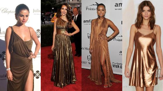 vestidos de festa cor bronze