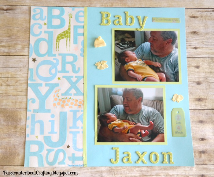 Passionate About Crafting Newborn Baby Boy Scrapbooking Page Idea