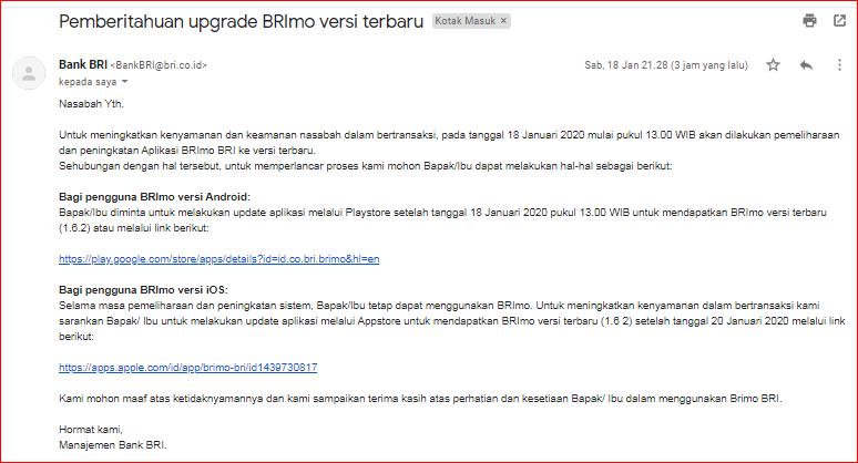 Mendapat Email Pemberitahuan upgrade BRImo versi terbaru ...
