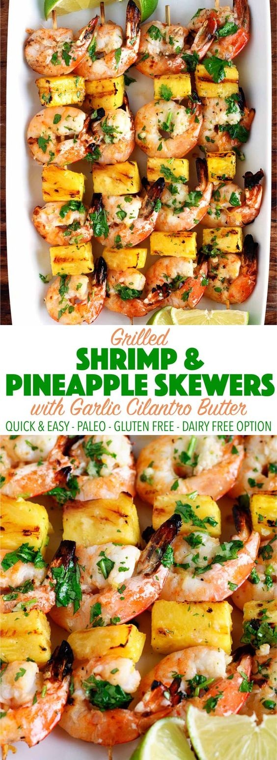 Grilled Shrimp & Pineapple Skewers With Garlic Cilantro Butter