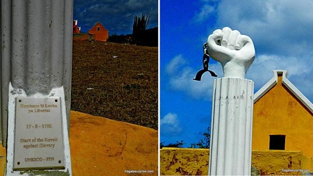 Monumento lembra a revolta de escravos de 1795 em Curaçao